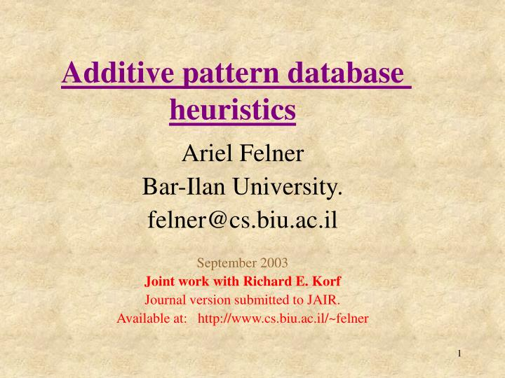 additive pattern database heuristics n.