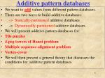 additive pattern databases