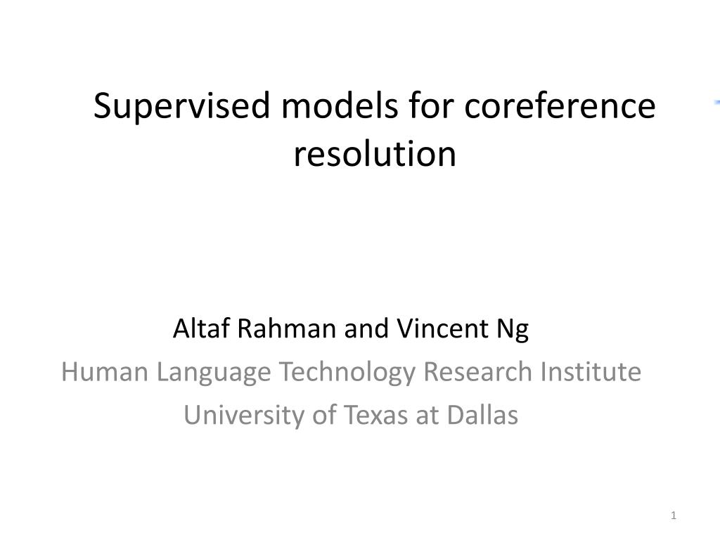 supervised models for coreference resolution l.