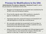 process for modifications to the uiia
