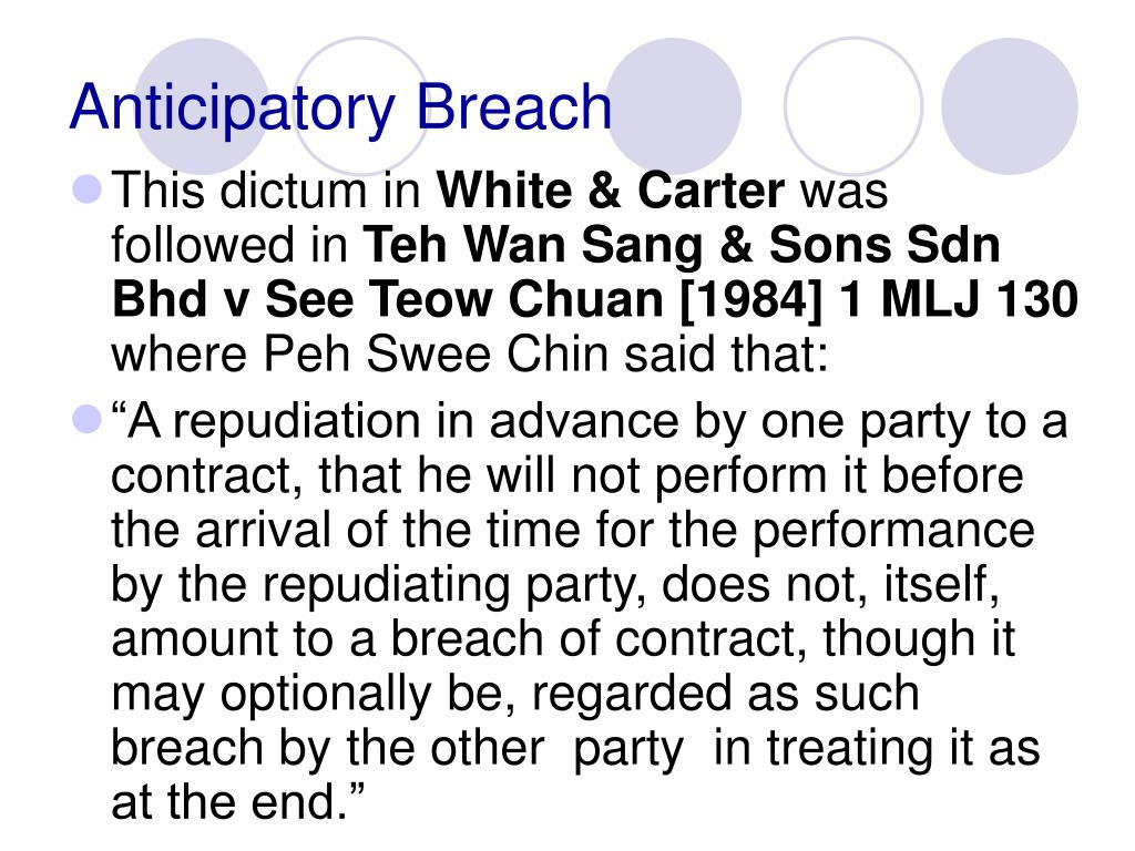 Anticipatory Breach
