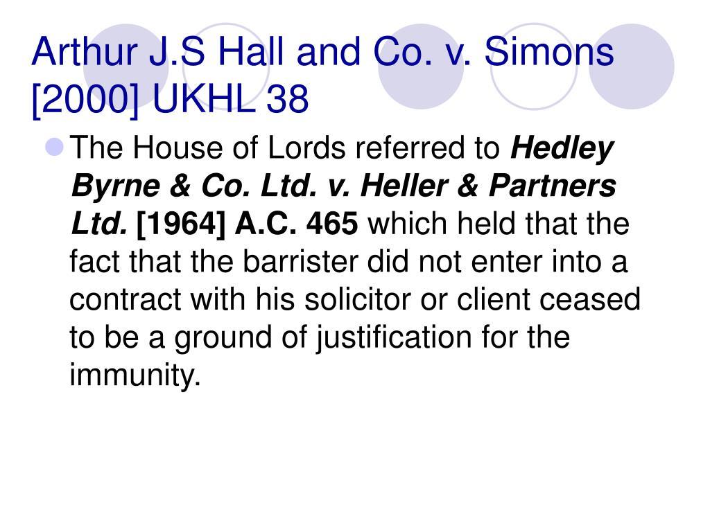Arthur J.S Hall and Co. v. Simons [2000] UKHL 38