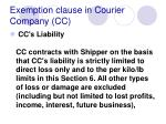 exemption clause in courier company cc
