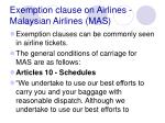 exemption clause on airlines malaysian airlines mas