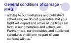 general conditions of carriage mas