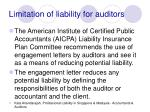 limitation of liability for auditors
