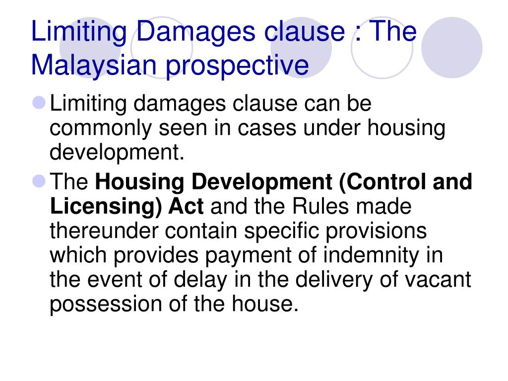 Limiting Damages clause : The Malaysian prospective