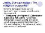limiting damages clause the malaysian prospective