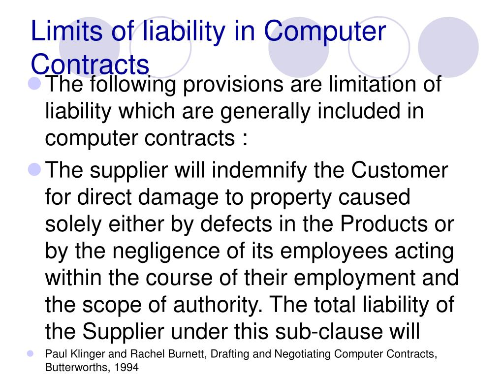 Limits of liability in Computer Contracts