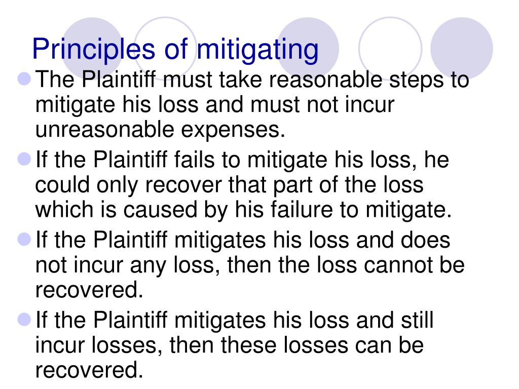 Principles of mitigating