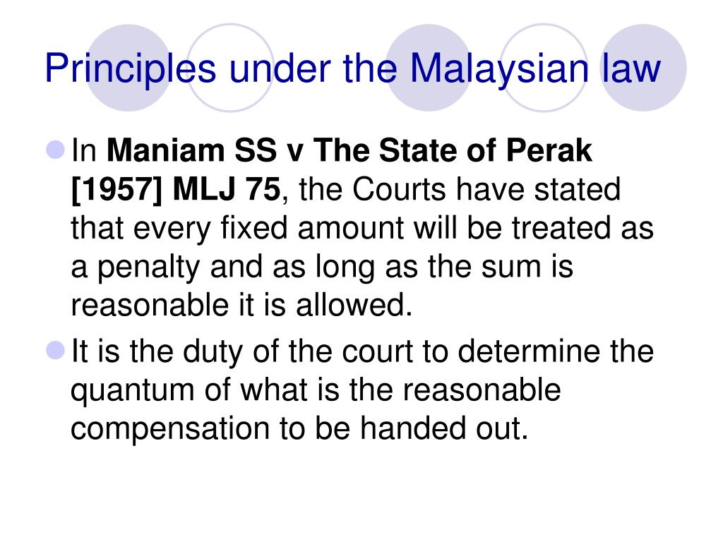 Principles under the Malaysian law