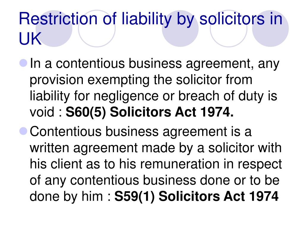 Restriction of liability by solicitors in UK