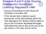 schedule g and h of the housing development control and licensing regulations 1989