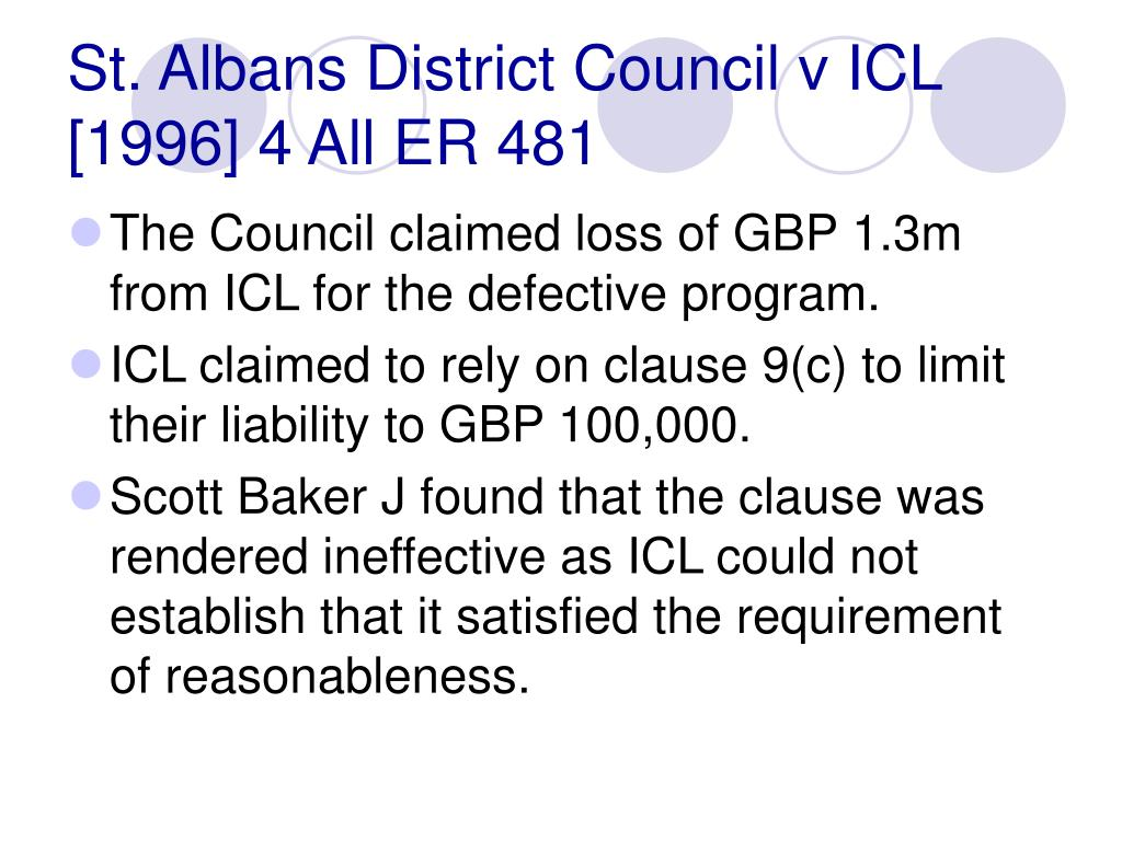 St. Albans District Council v ICL [1996] 4 All ER 481