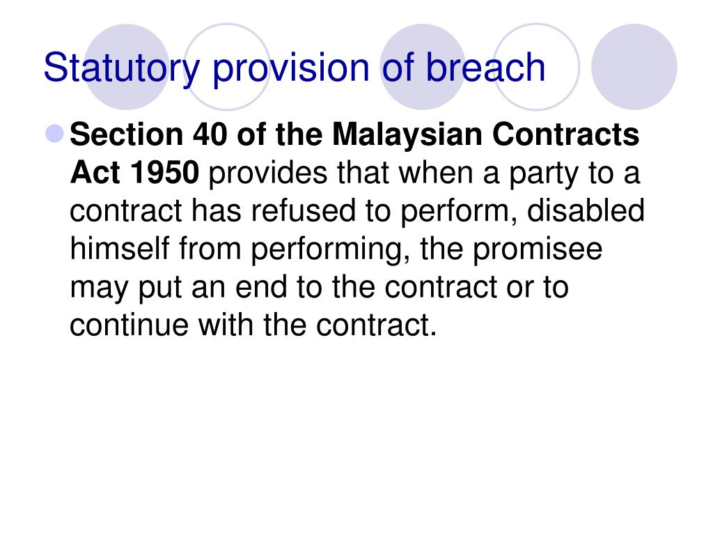 Statutory provision of breach
