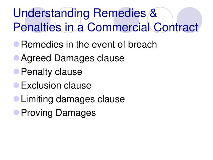 Understanding remedies penalties in a commercial contract2