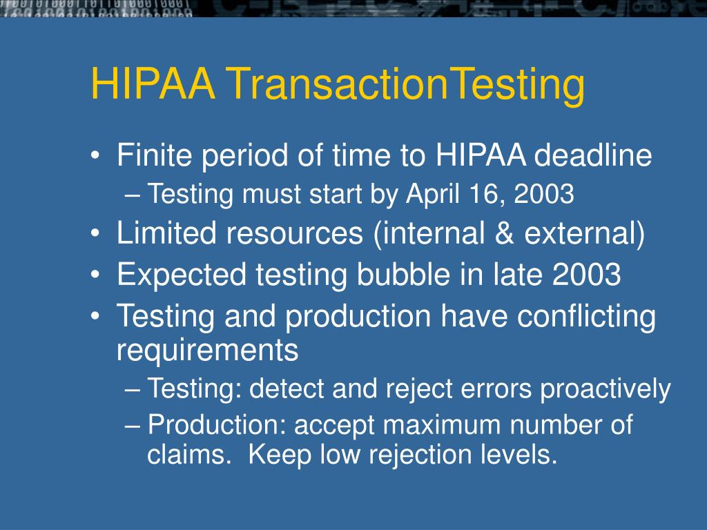 HIPAA TransactionTesting