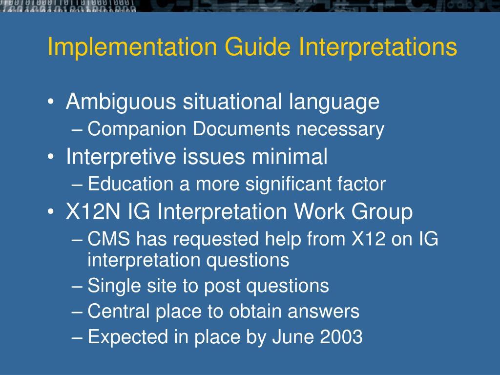 Implementation Guide Interpretations