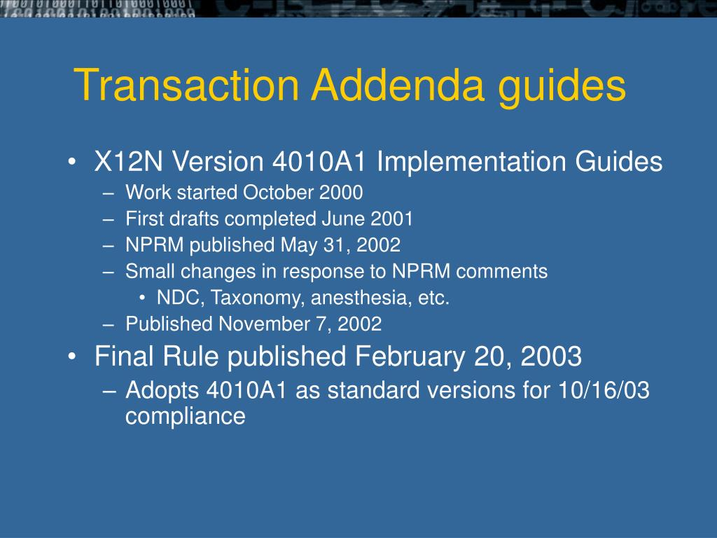 Transaction Addenda guides