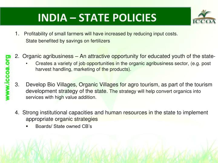INDIA – STATE POLICIES