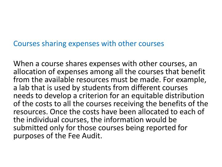 Courses sharing expenses with other