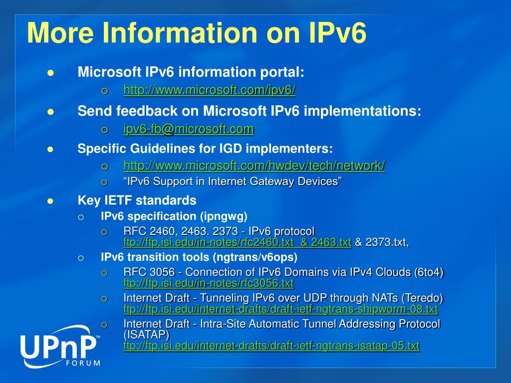 More Information on IPv6