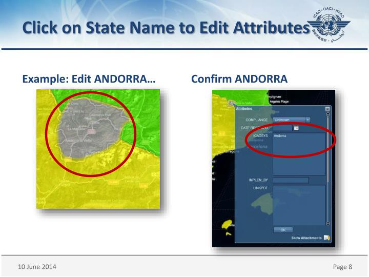 Click on State Name to Edit Attributes