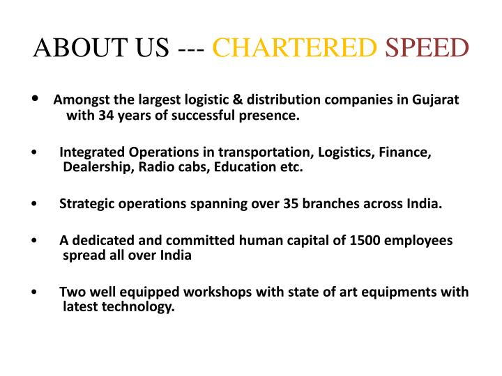 About us chartered speed