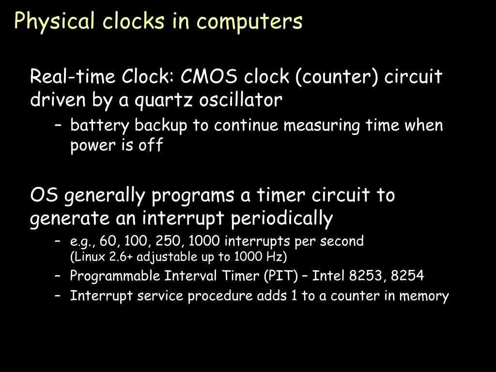 Physical clocks in computers