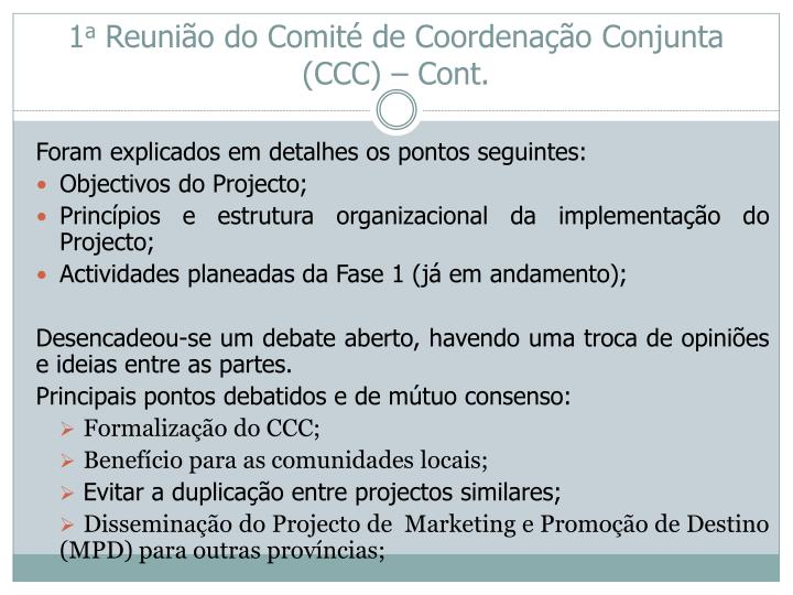 1 a reuni o do comit de coordena o conjunta ccc cont