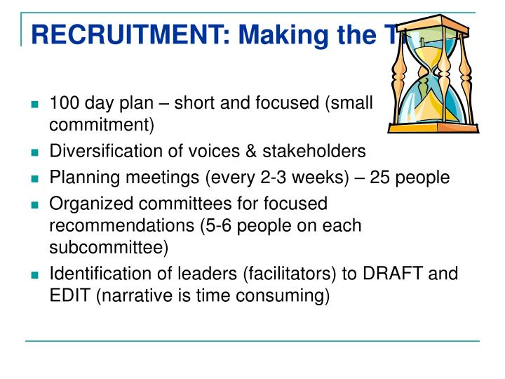 RECRUITMENT: Making the Time
