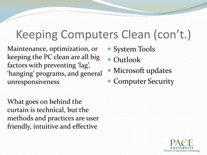Keeping computers clean con t