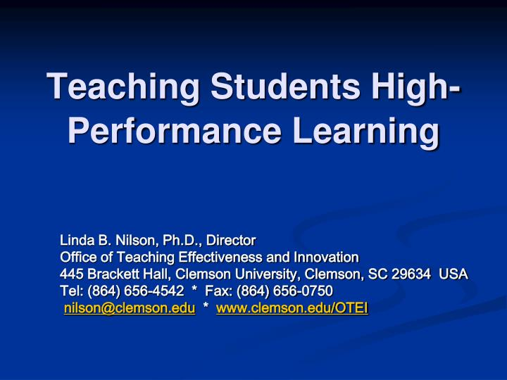 teaching students high performance learning n.