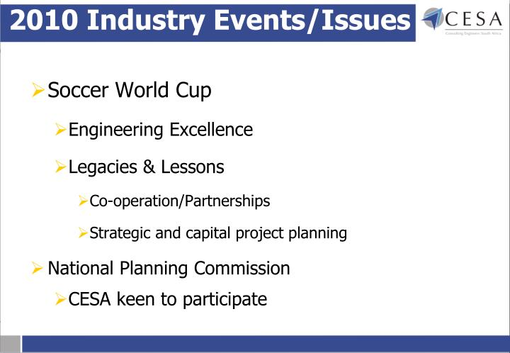 2010 Industry Events/Issues