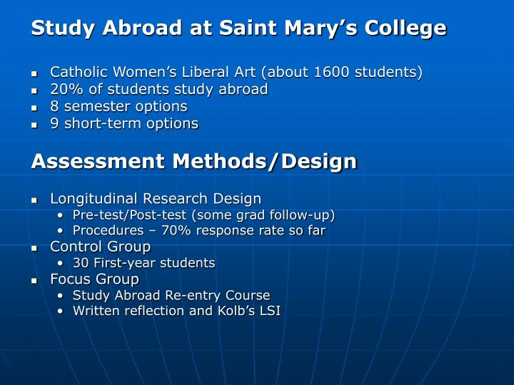 Study Abroad at Saint Mary's College