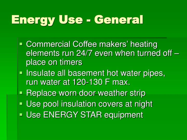 Energy Use - General
