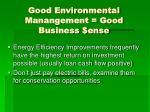 good environmental manangement good business ense