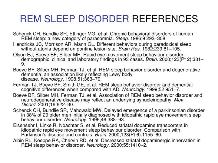 REM SLEEP DISORDER