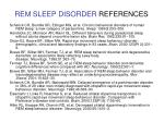 rem sleep disorder references