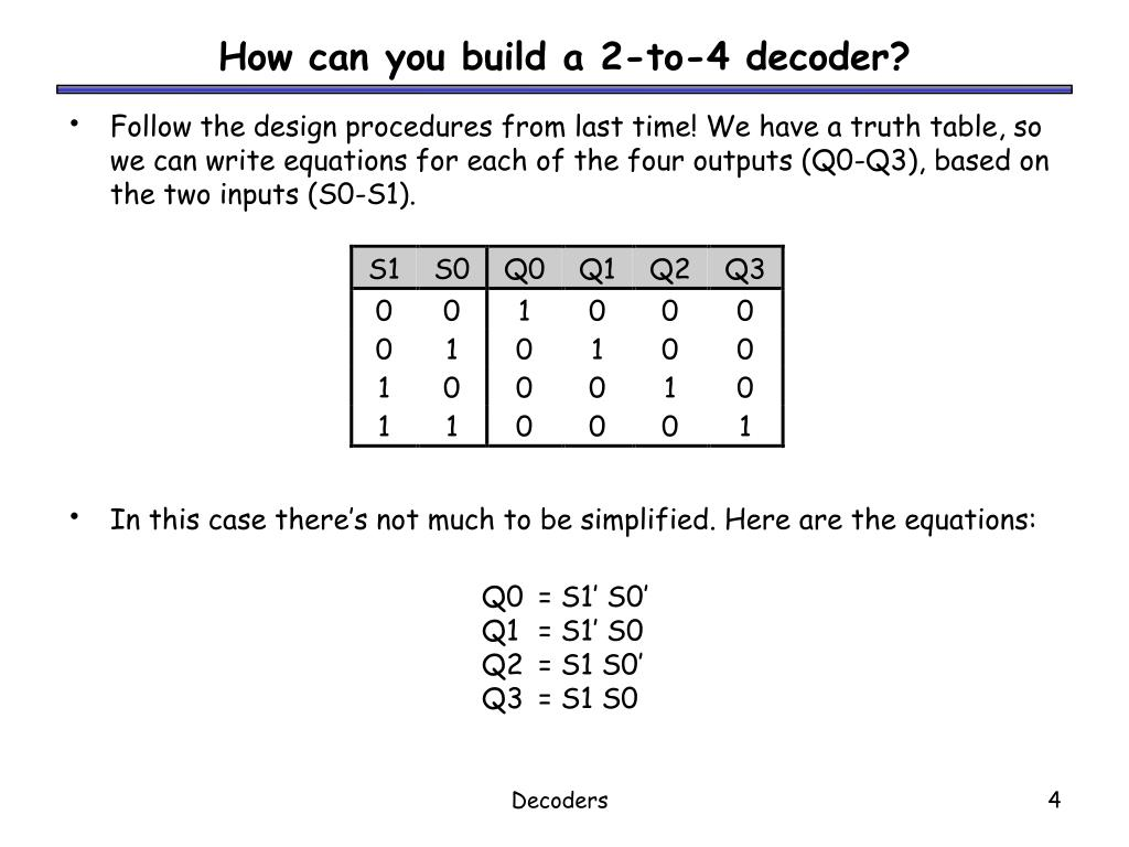 How can you build a 2-to-4 decoder?