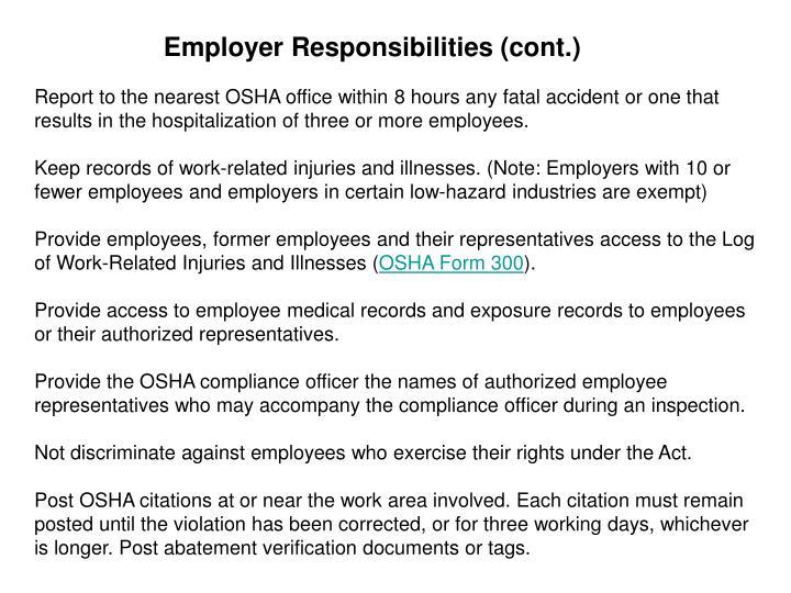 Employer Responsibilities (cont.)
