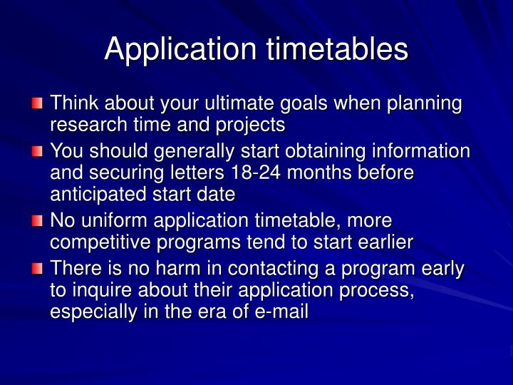 Application timetables