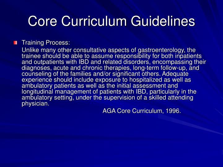 Core Curriculum Guidelines