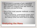 analyzing the menu