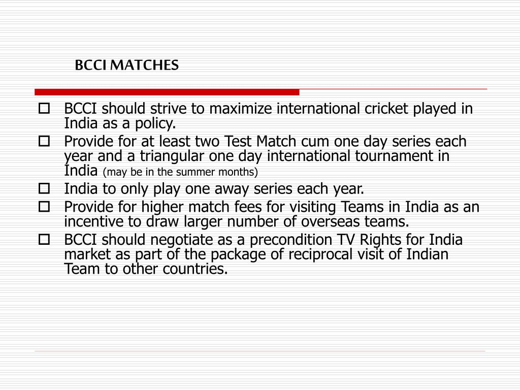 BCCI MATCHES