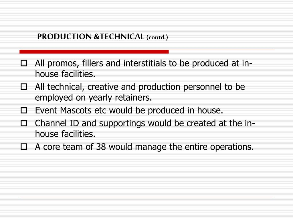 PRODUCTION &TECHNICAL