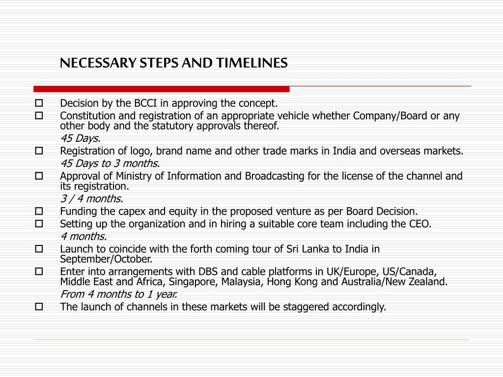 NECESSARY STEPS AND TIMELINES