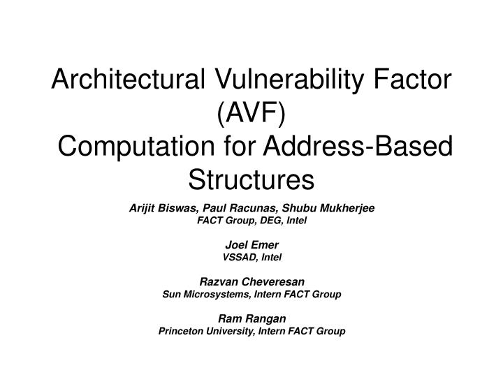 Architectural vulnerability factor avf computation for address based structures