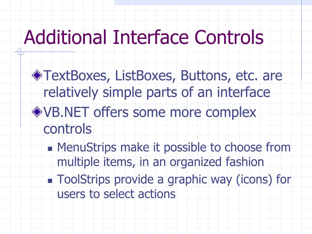 Additional Interface Controls