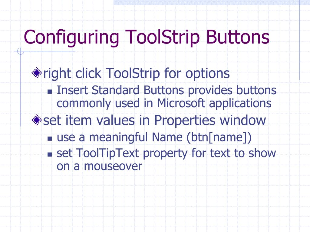 Configuring ToolStrip Buttons
